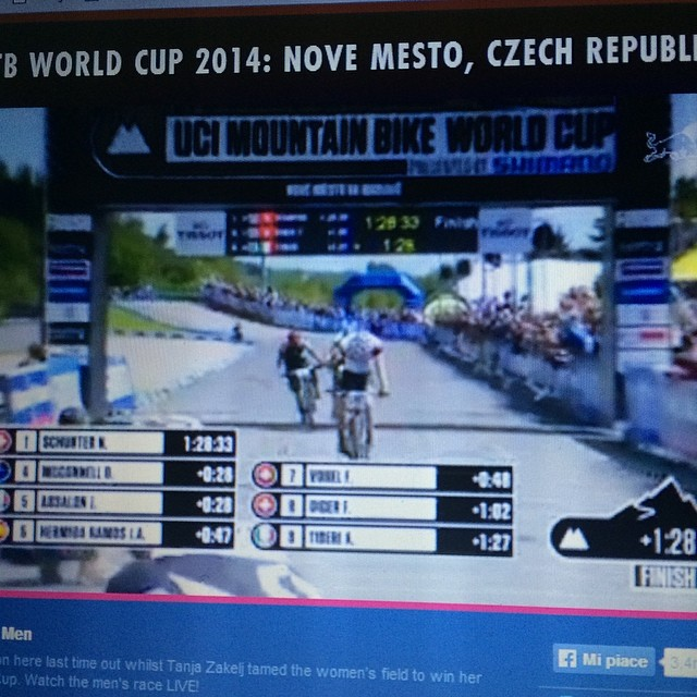 """Fantastic 9th position for my super son in law """"tibo"""" in the cross country mountain bike world cup in czech republic today!"""