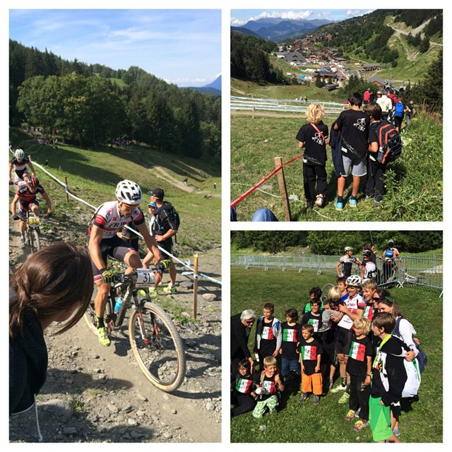 Worl cup MTB finals Meribel. Tibo fantastic, broken gears and flat tyre on the last lap were not needed. Fan club out in force !!!