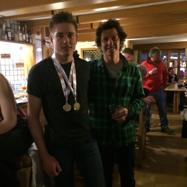One very happy coach#marcoeydallin and new British slopestyle champion #harrywright #skisauze #sauzedoulx '#hotelstellalpina