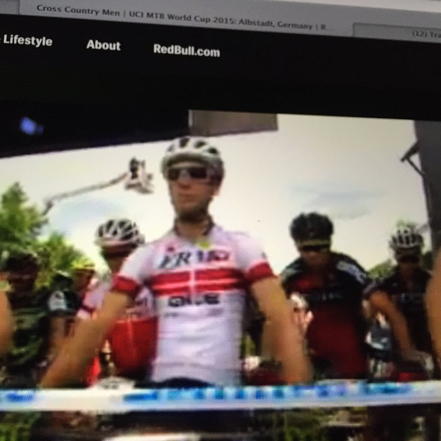 Front row of the grid for mens MTB cross country world cup in Germany for #Tibo...but its going to be a tough one #redbulltv