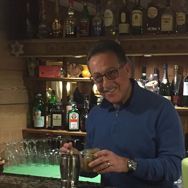 """Honoured to have world famous barman""""il maestro """"Salvatore Calabrese making us a delicious cocktail in the#hotelstellalpina #sauzedoulx"""