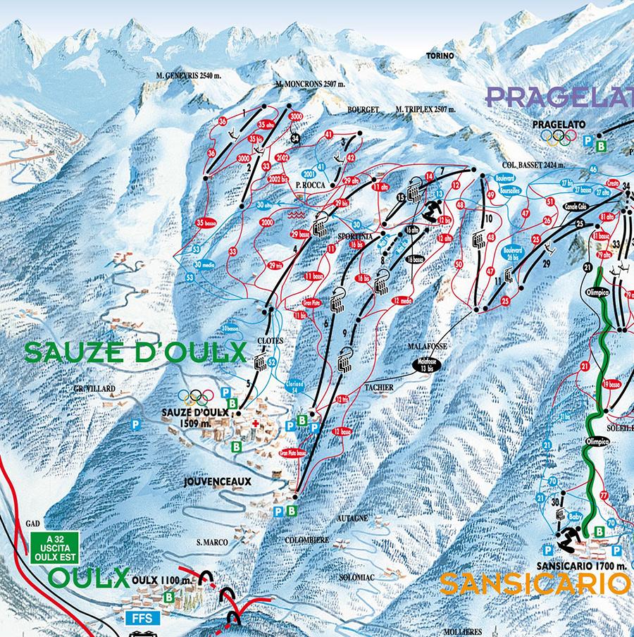Sauze D Oulx Piste Map Piste Map   Ski Sauze